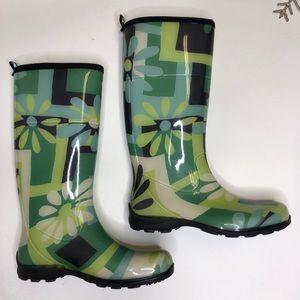 Kamik Rain Boots - Green Floral - size 10